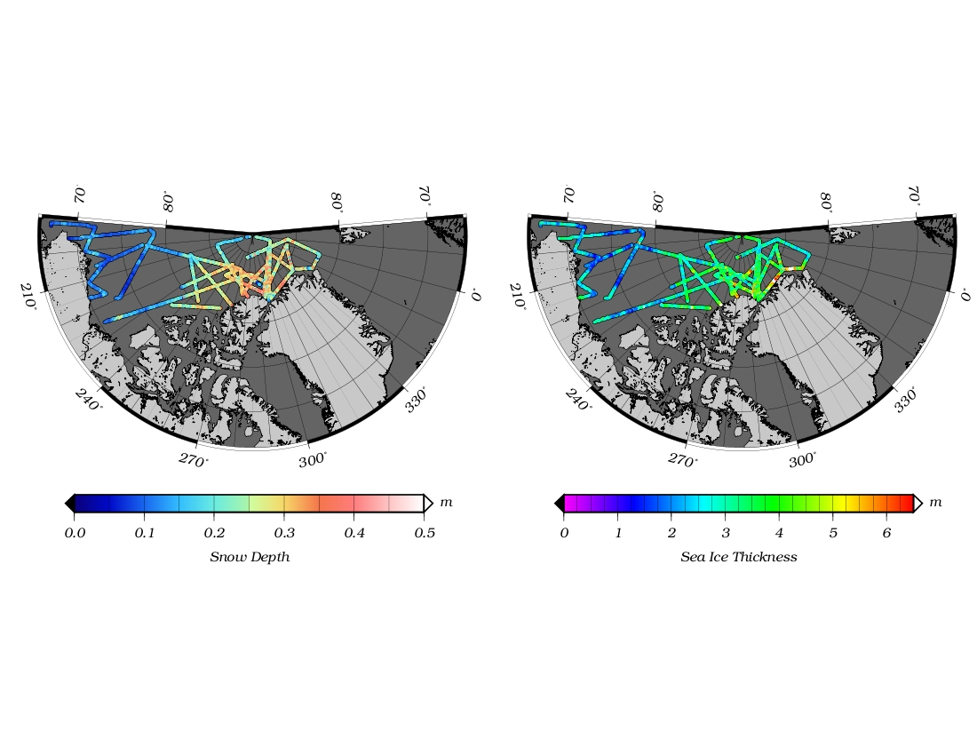 Maps of sea ice thickness and snow depth