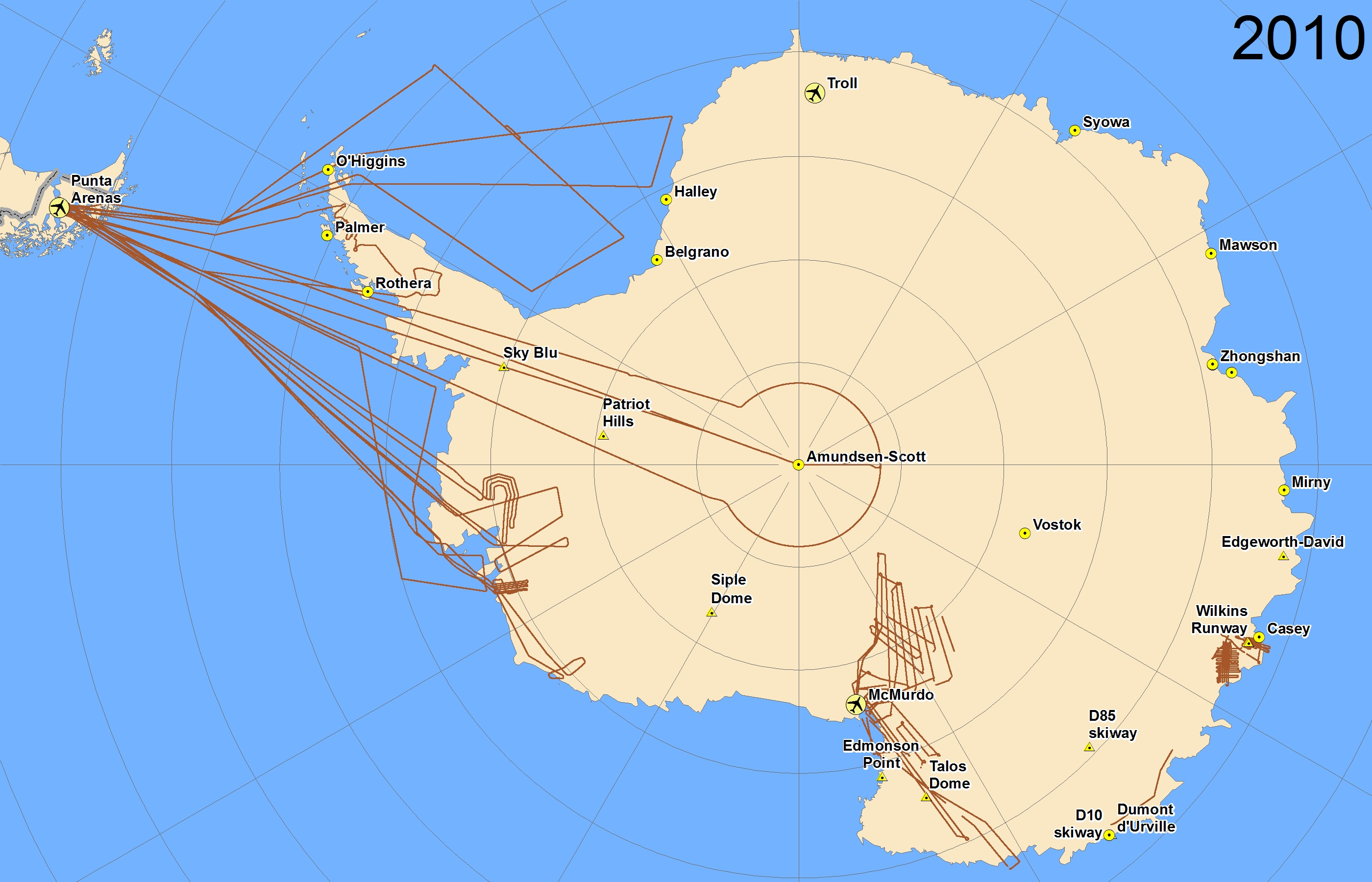 Map of 2010 Antarctic flight lines