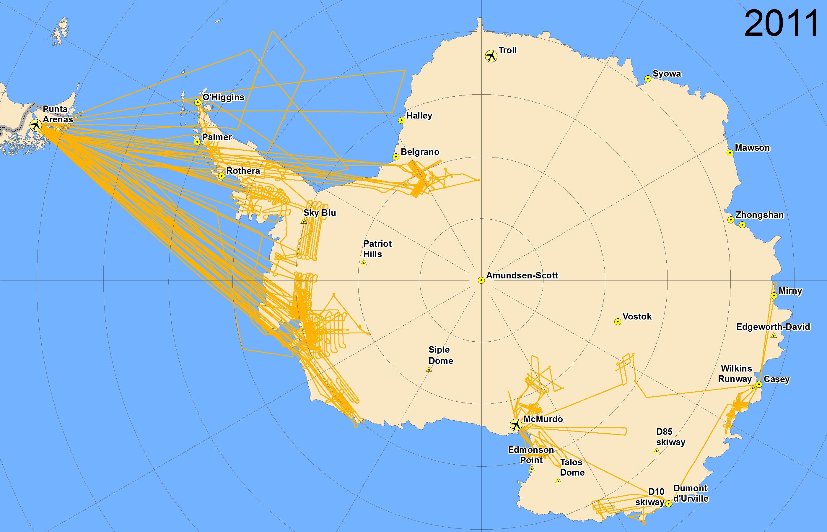 Map of 2011 Antarctic flight lines