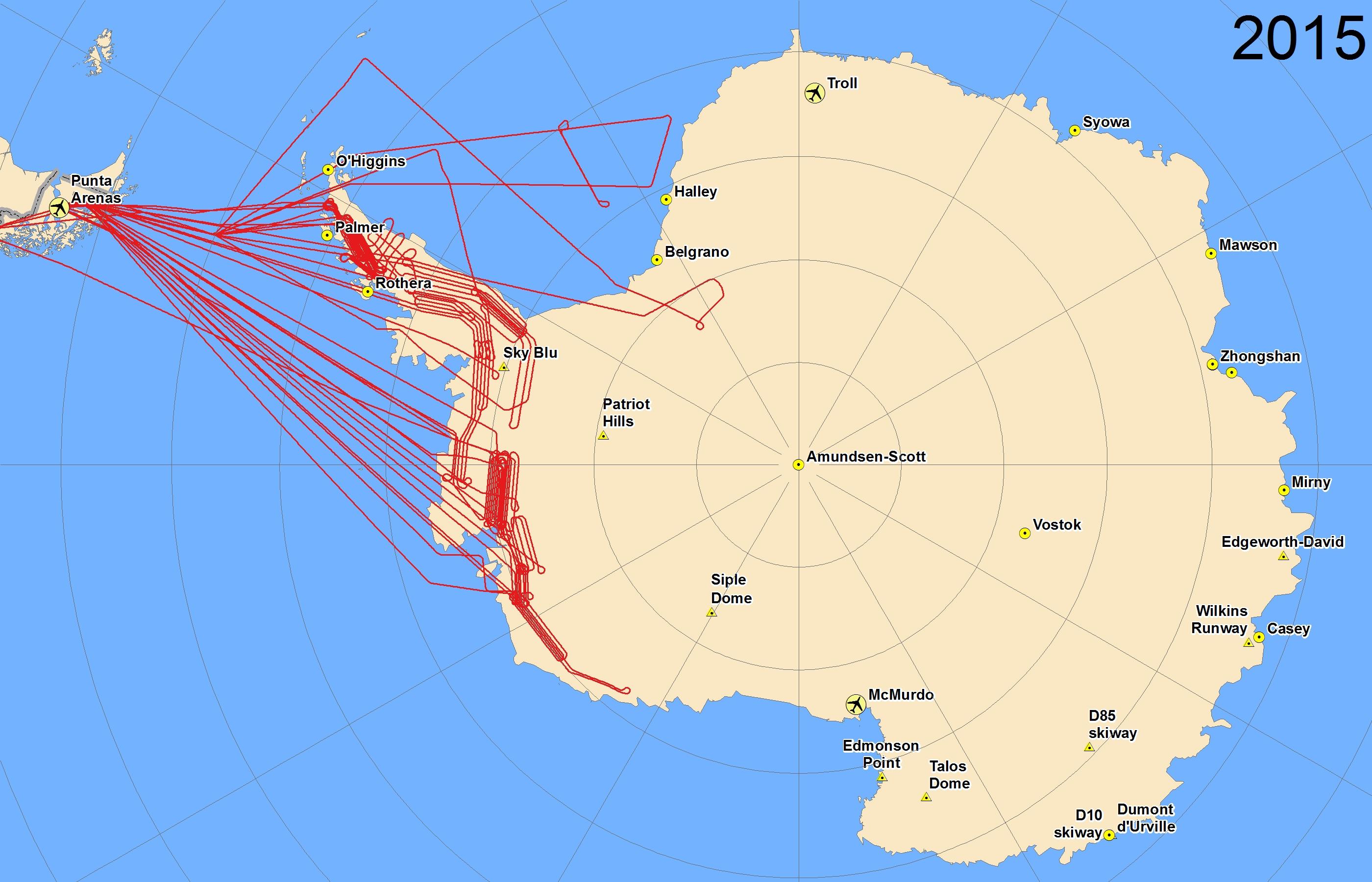 Map of 2015 Antarctic flights