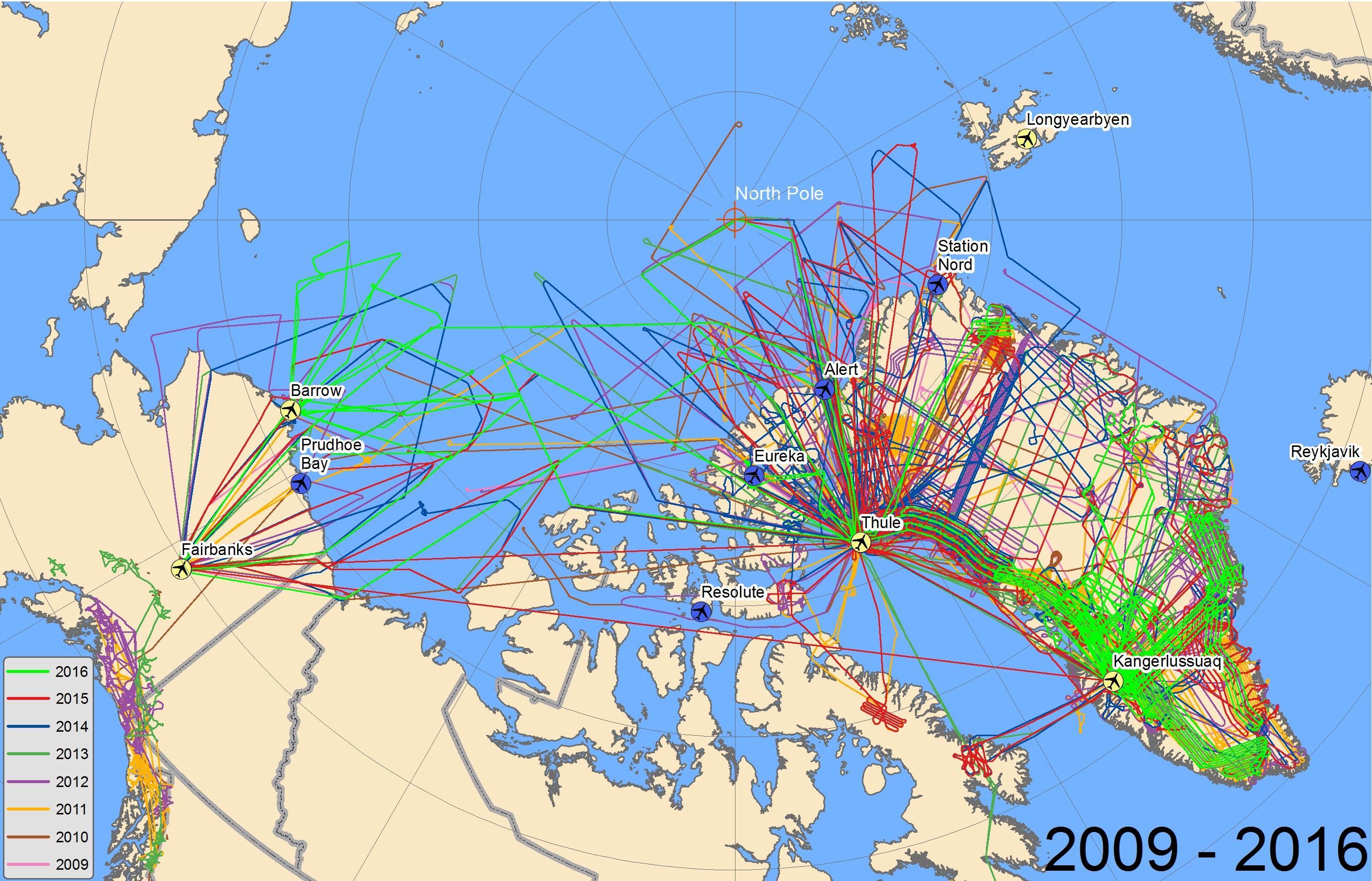Arctic flights 2009-2016