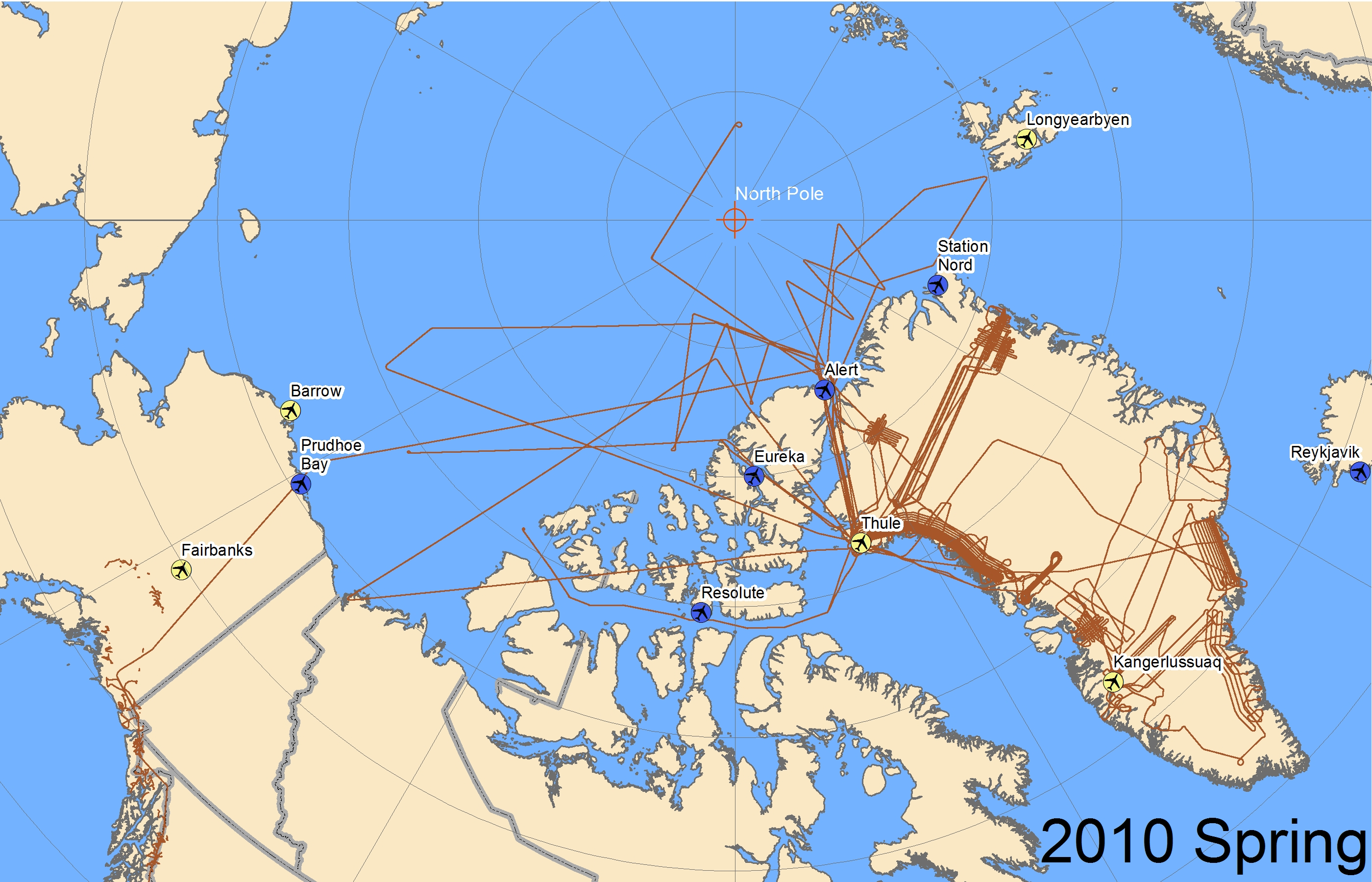 Map of 2010 Arctic flight lines