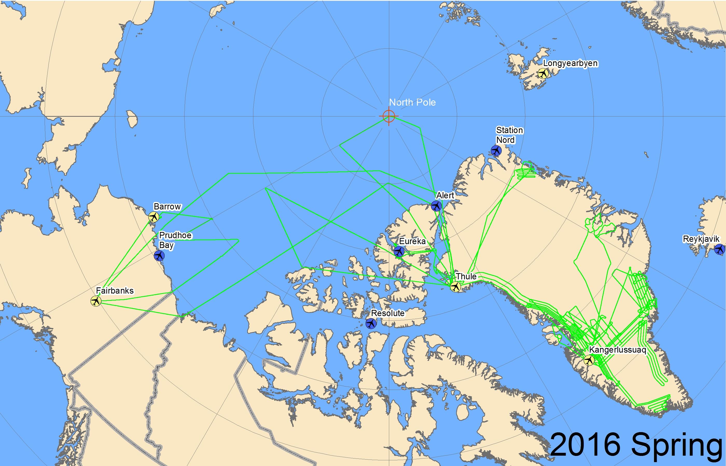 Map of 2016 Arctic flight lines
