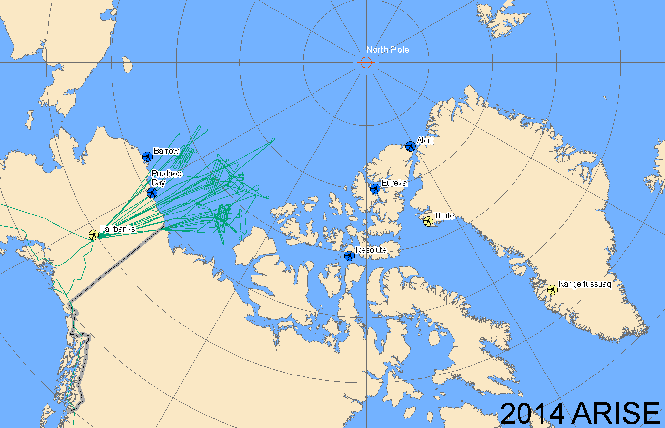 Map of 2014 ARISE flight lines
