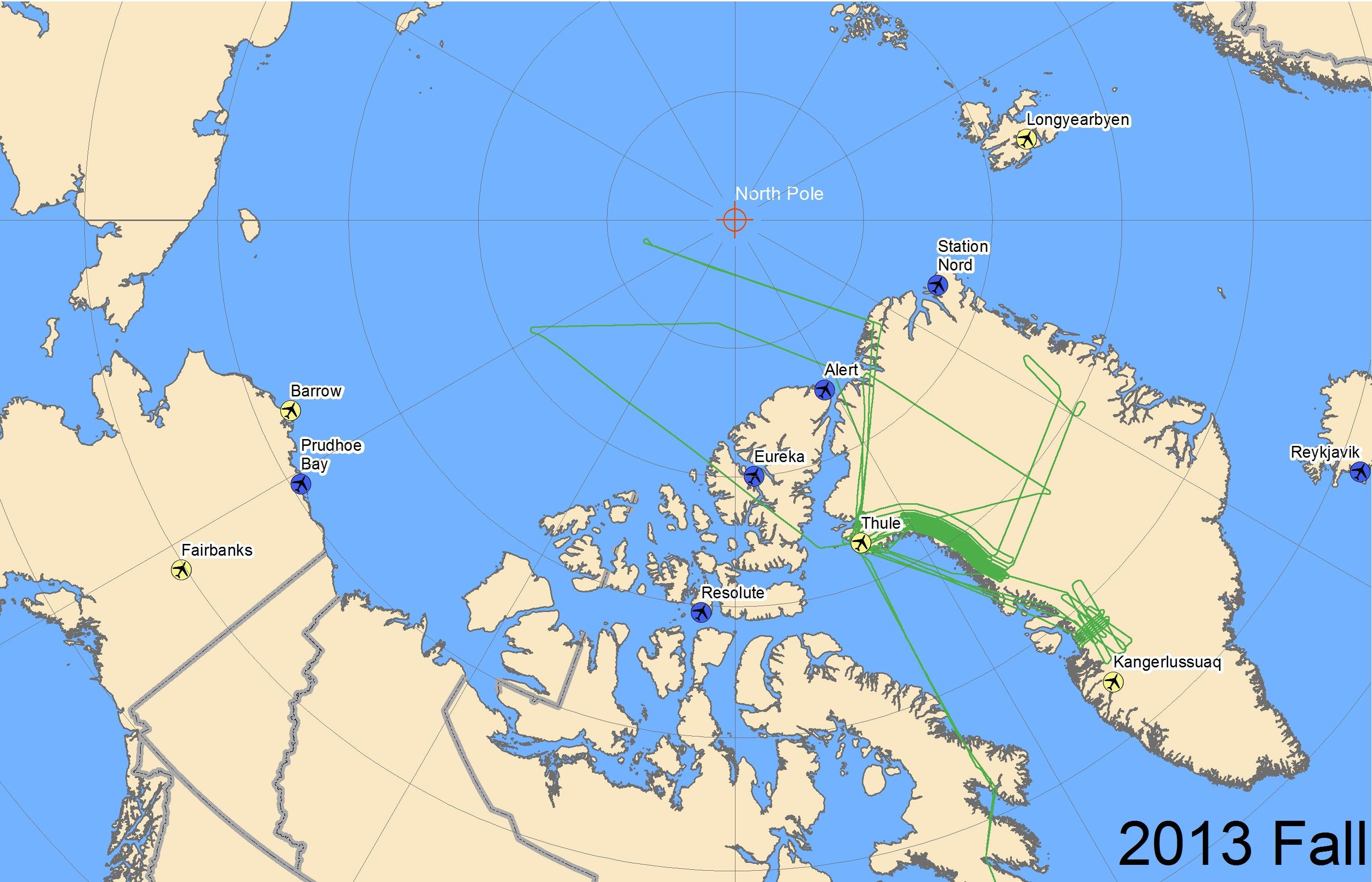Map of LVIS / Greenland flight lines