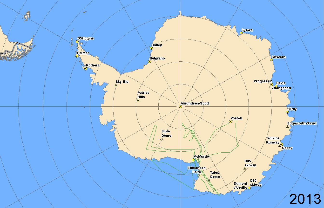 Map of 2013 Antarctic flight lines