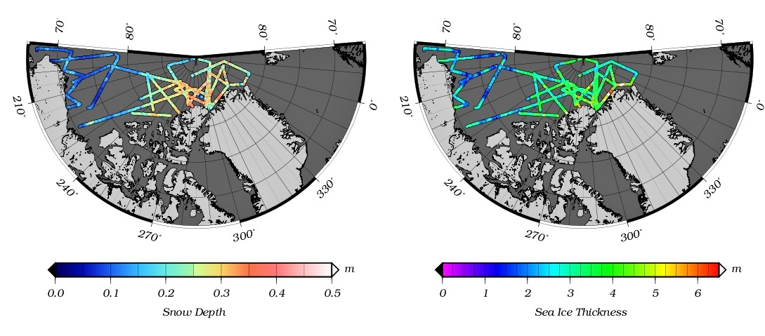 Maps of Arctic sea ice thickness and snow depth, Spring 2012