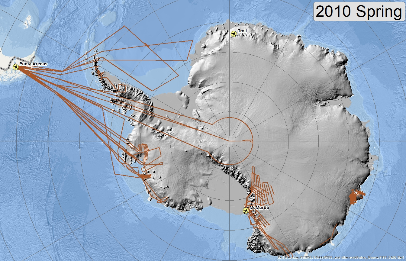 Map of 2010 Antarctic flight lines