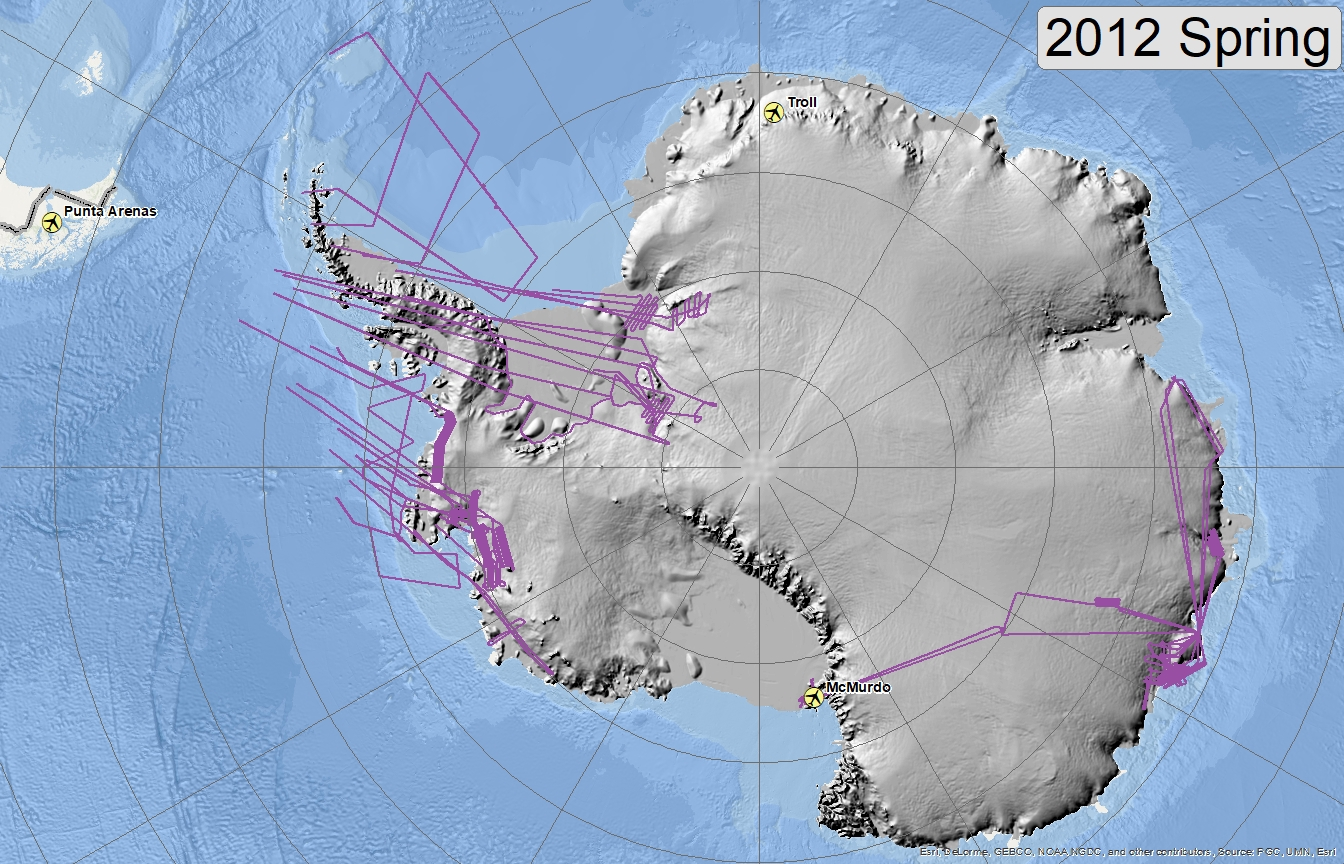 Map of 2012 Antarctic flight lines