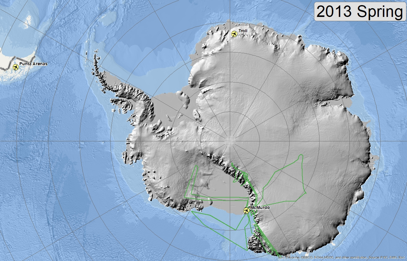 Map of 2013 Antarctic flight lines