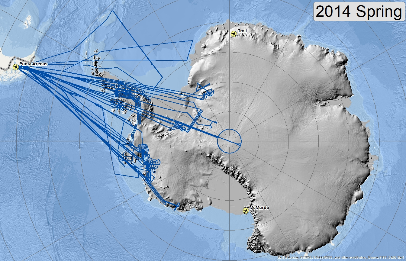 Map of 2014 Antarctic flights