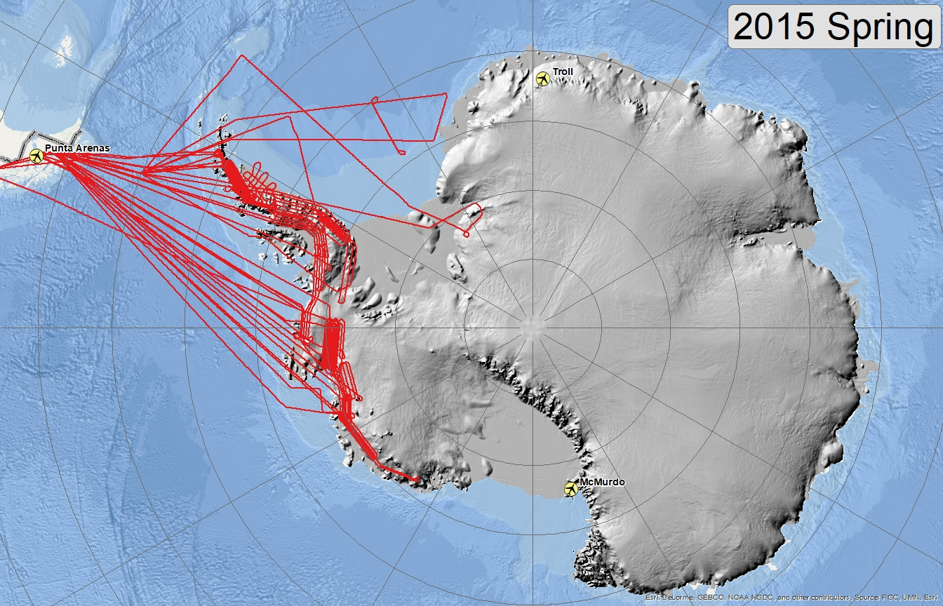 Map of 2015 Antarctic flights