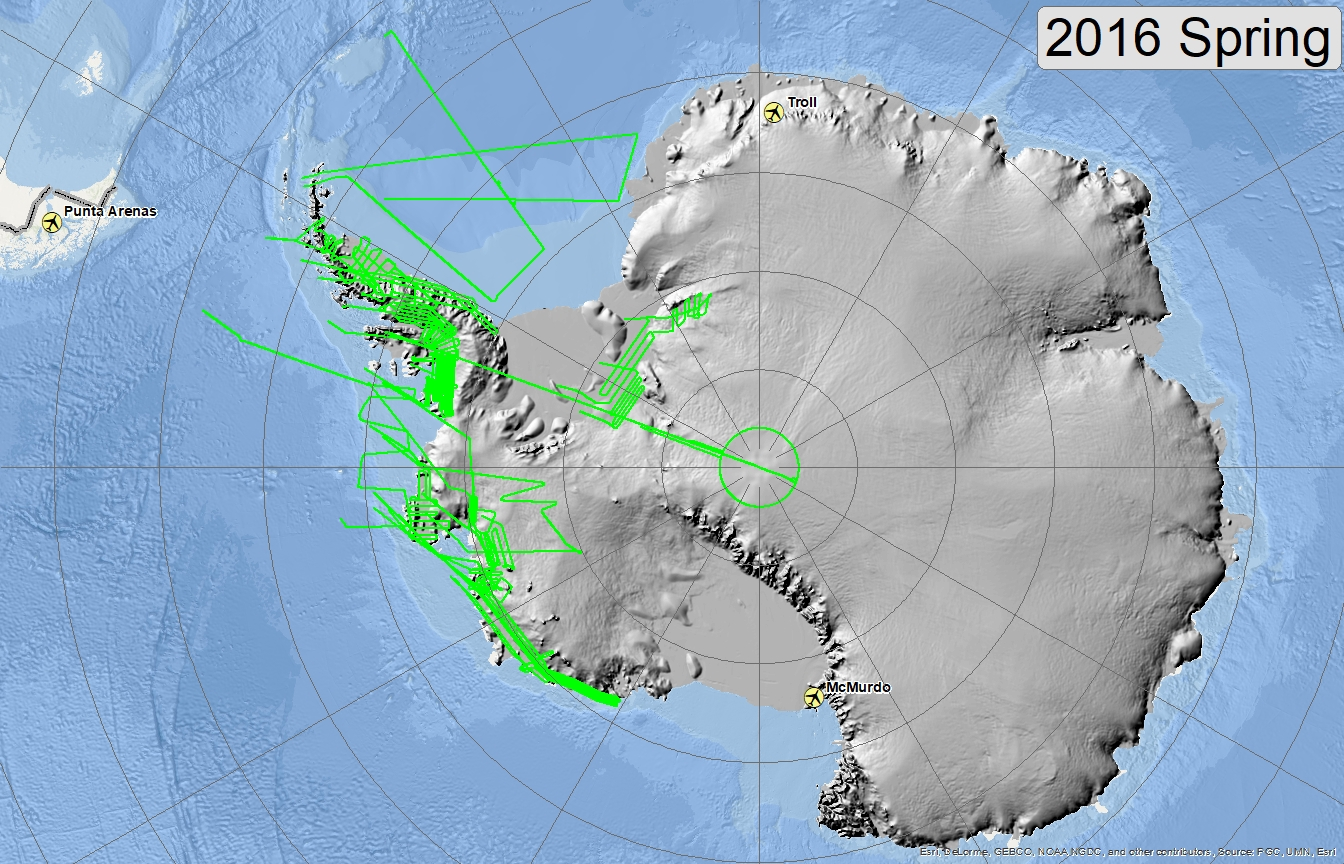 Map of 2016 Antarctic flight lines