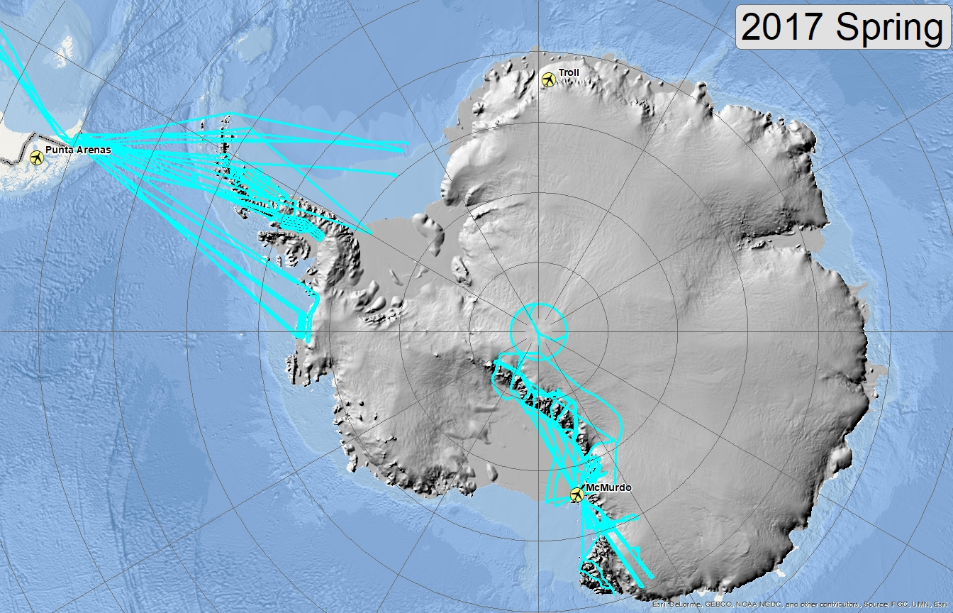 Map of 2017 Antarctic flight lines