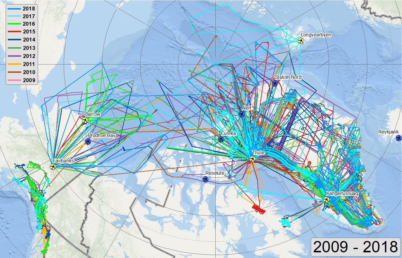 Arctic flights 2009-2017