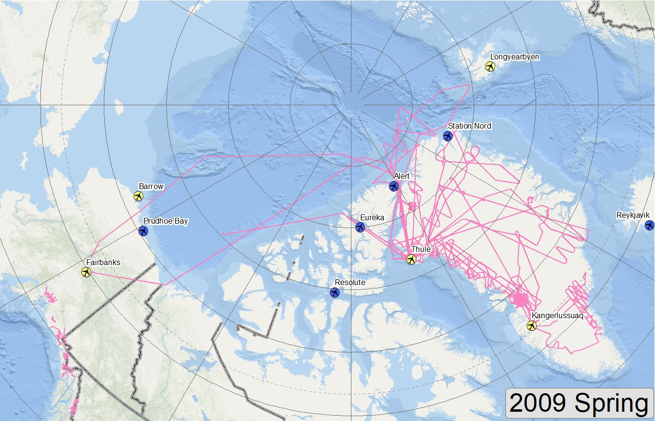 Map of 2009 Arctic flight lines