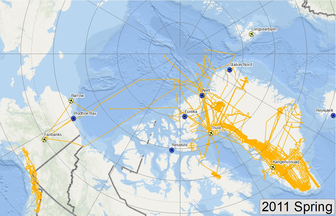 Map of 2011 Arctic flight lines