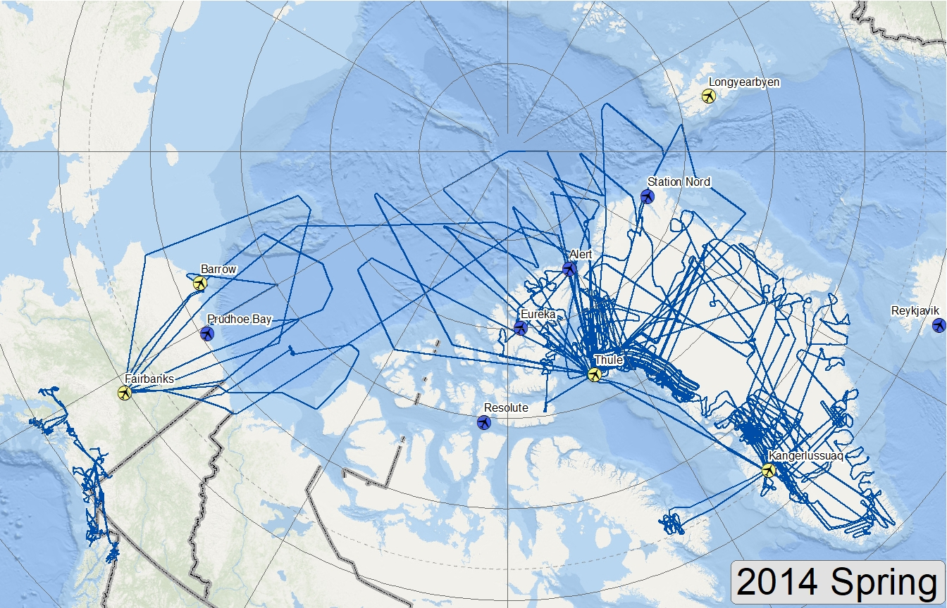 Map of 2014 Arctic flight lines