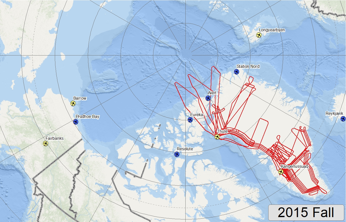 Map of 2015 Arctic Fall flight lines