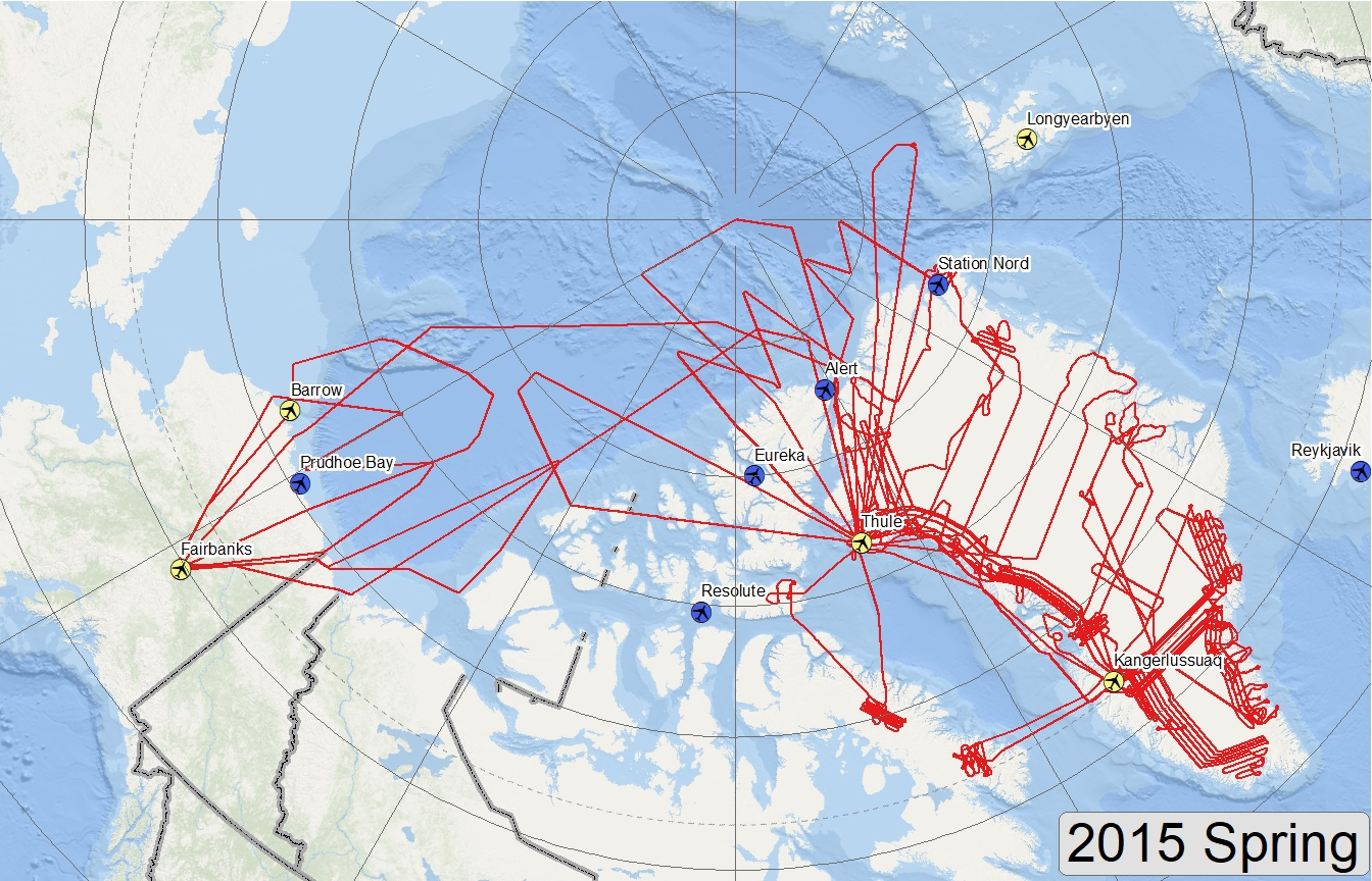 Map of 2015 Arctic flight lines