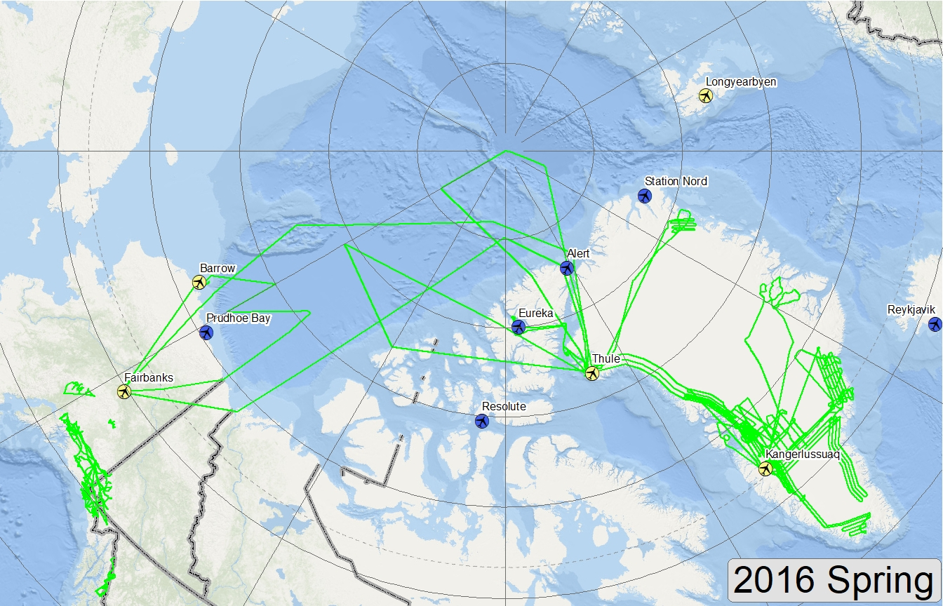 Map of 2016 Arctic flight lines
