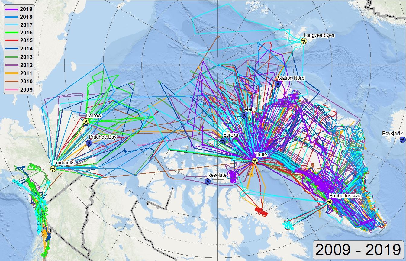 Arctic flights 2009-2017