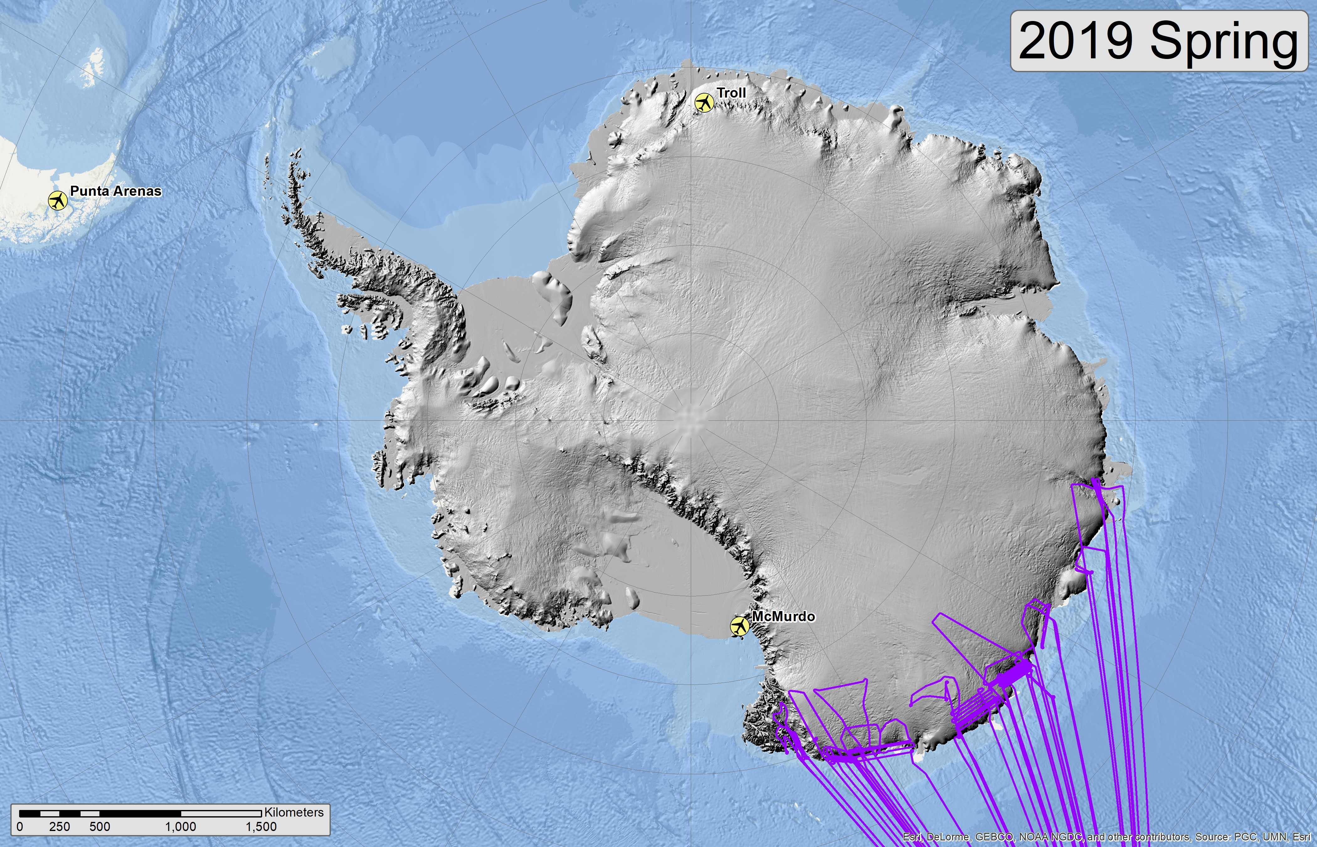 Map of 2019 Antarctic flight lines