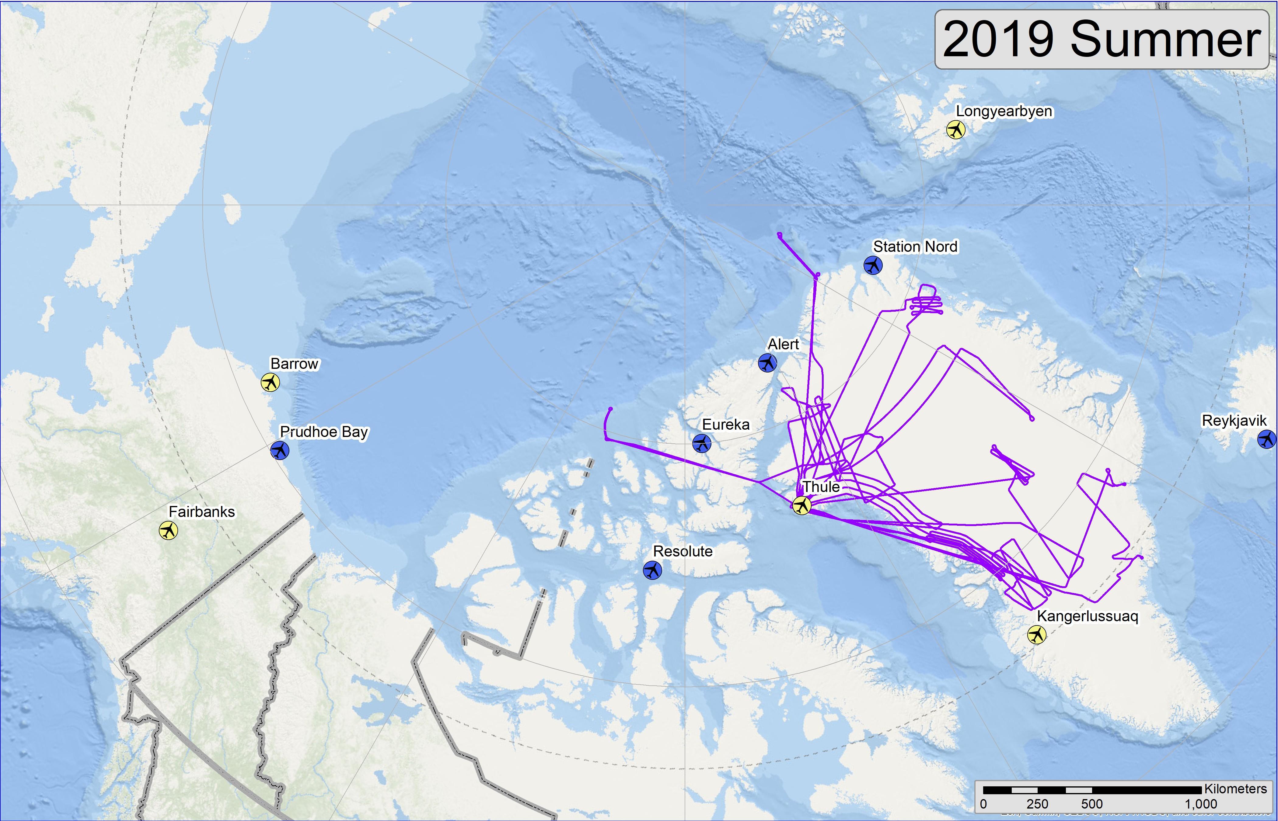 Map of 2019 Arctic Summer flight lines